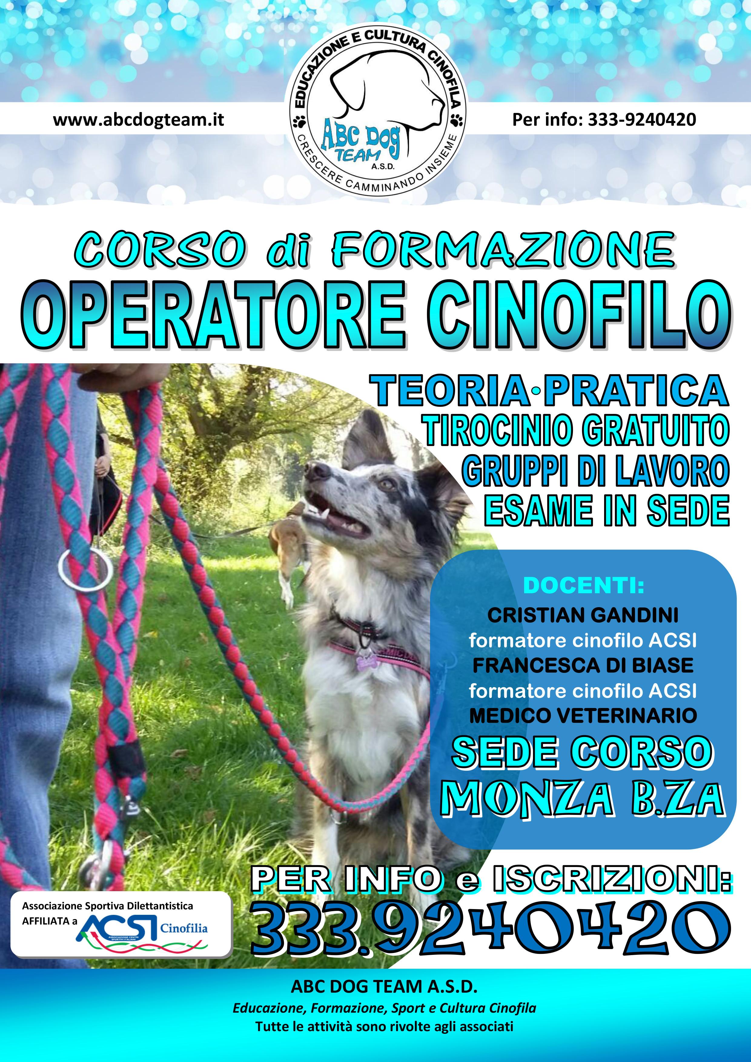 Locandina Corso Operatore cinofilo 19.20