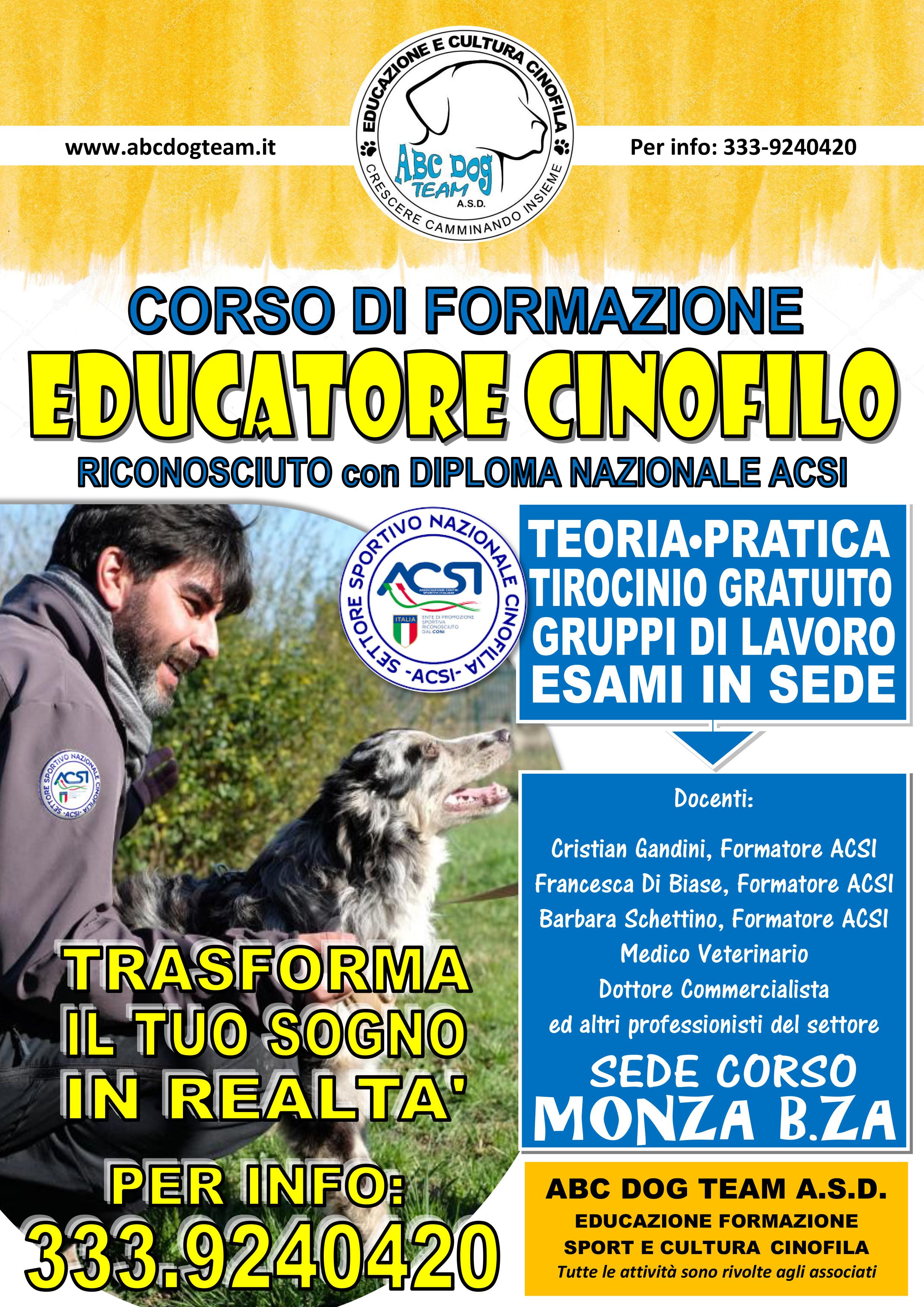 Locandina Corso educatore cinofilo 19.20
