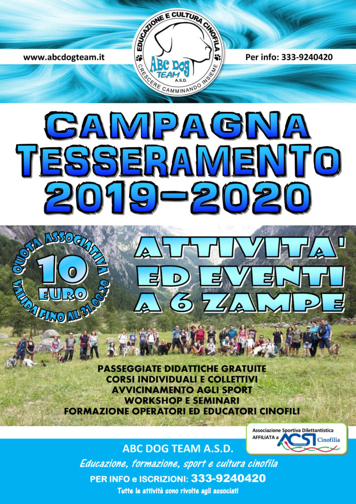 ABC DOG TEAM CAMPAGNA TESSERAMENTO 2019
