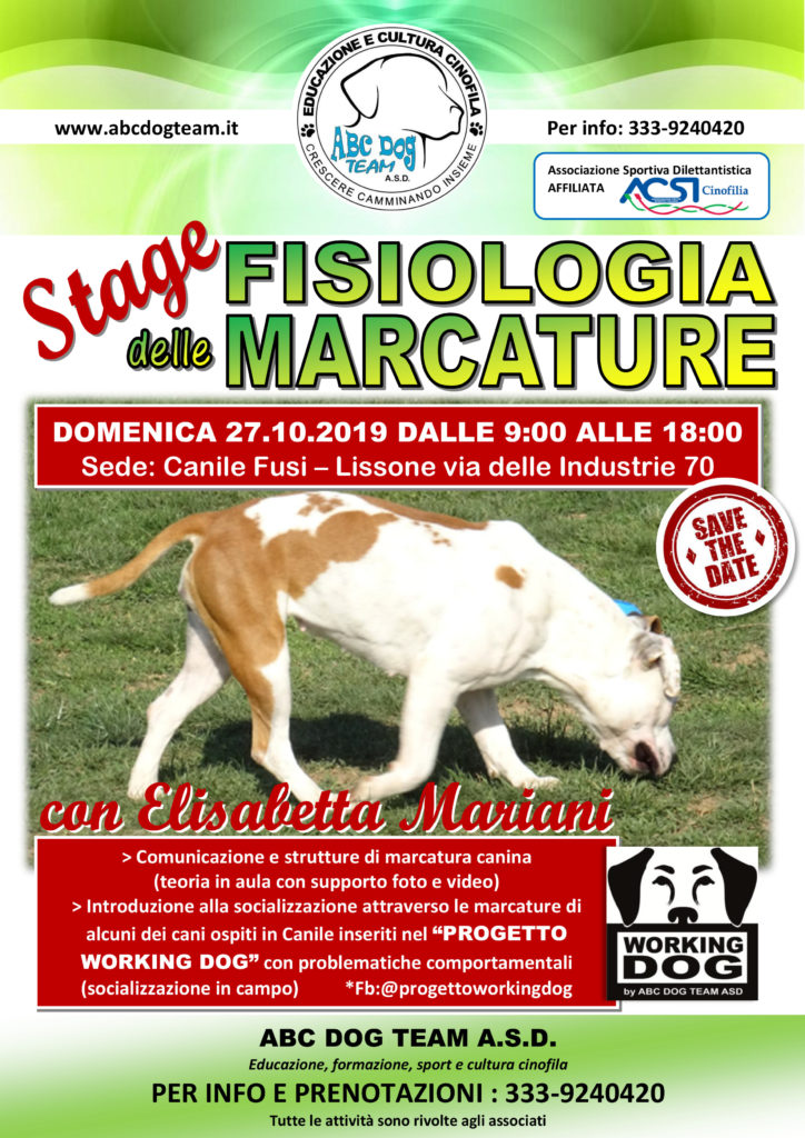 ABC DOG TEAM FISIOLOGIA DELLE MARCATURE 2019