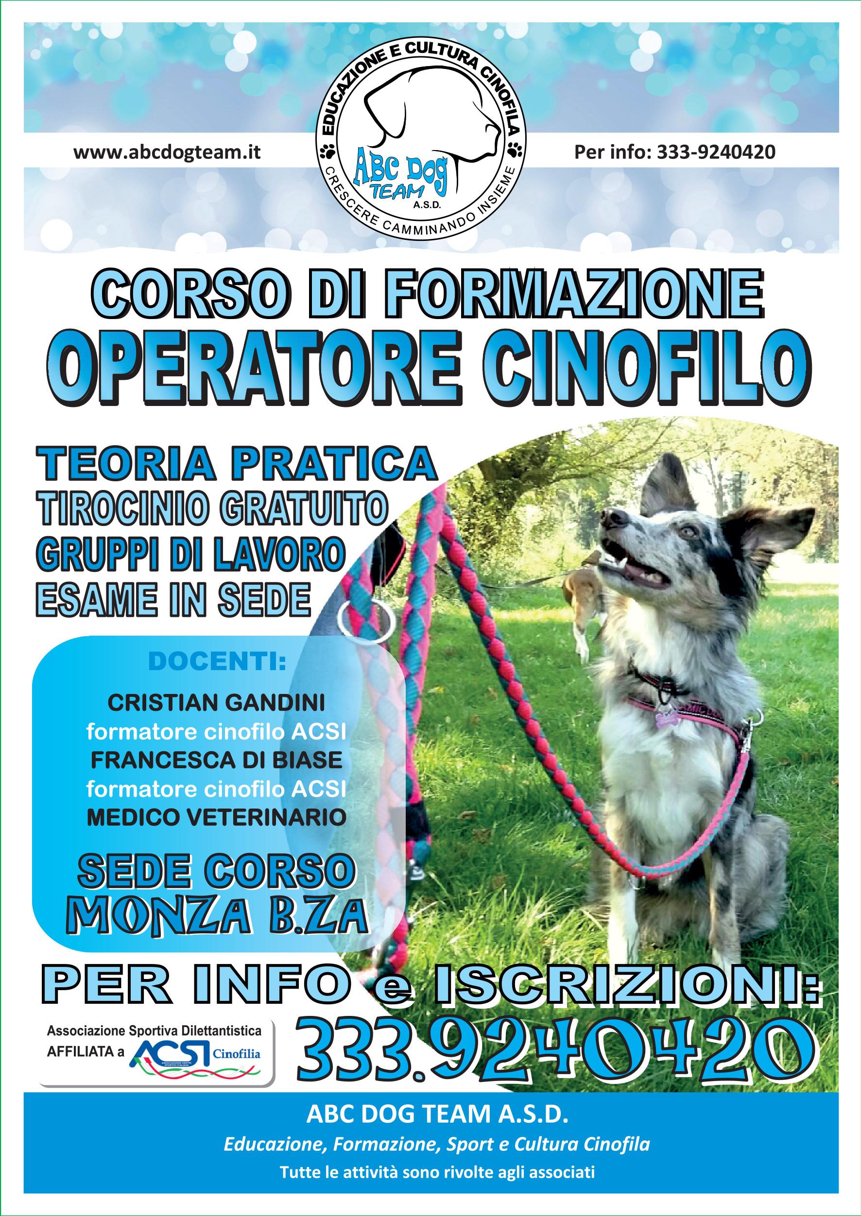 Abc Dog Team Corso Operatore CInofilo Monza 2020