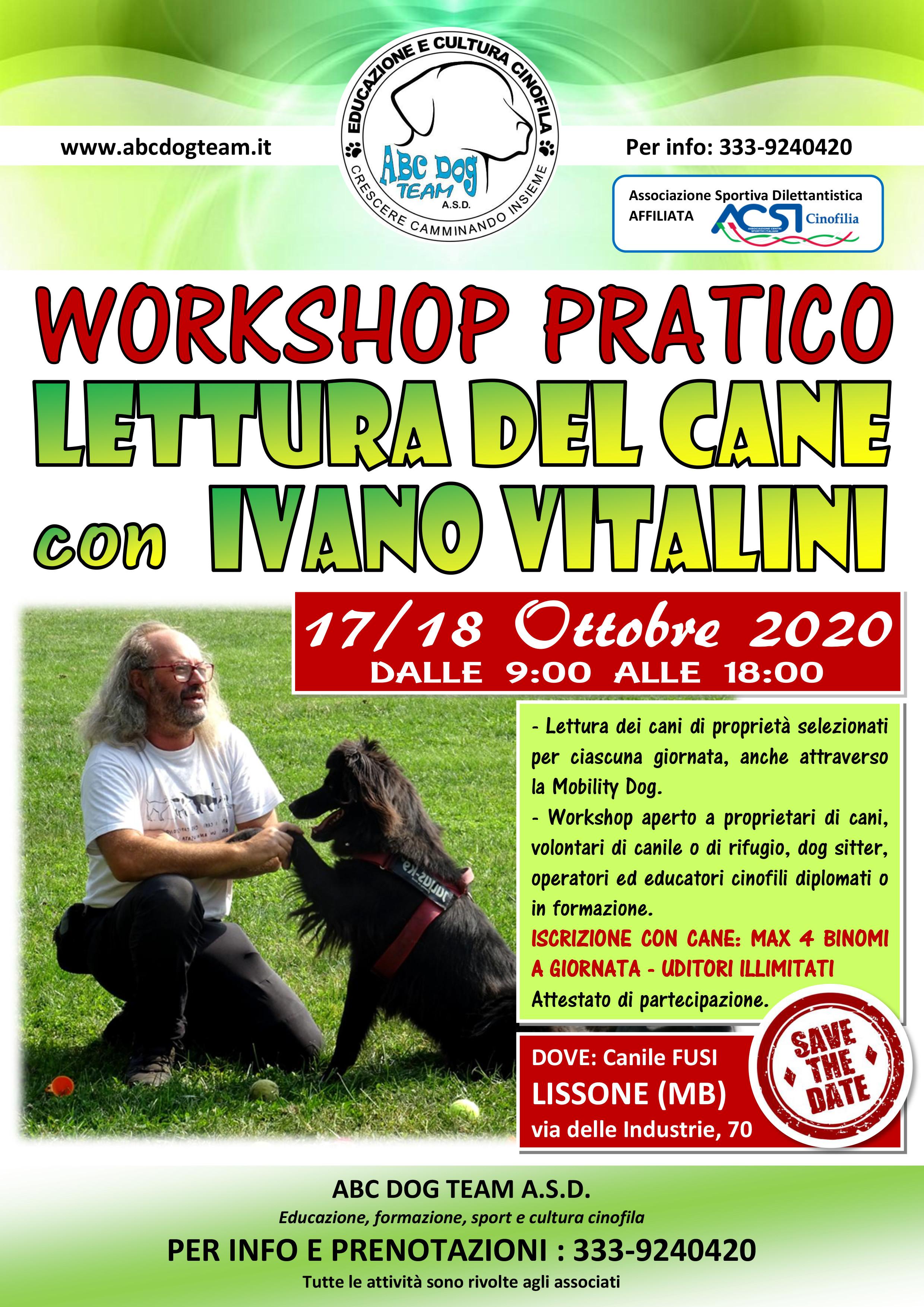 ABC DOG TEAM ASD LETTURA CANI 2020 IVANO VITALINI MONZA